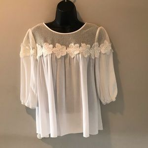 PINKY- Crochet loose white shirt
